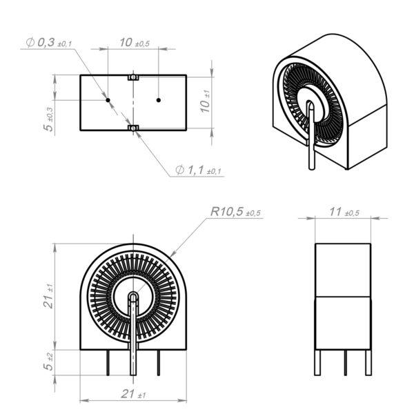 Размеры датчика тока ТДТ-1